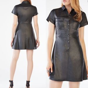 21d4e99eb06 BCBGMaxAzria Dresses - BCBG Stephana Faux-Leather Shirt Dress black